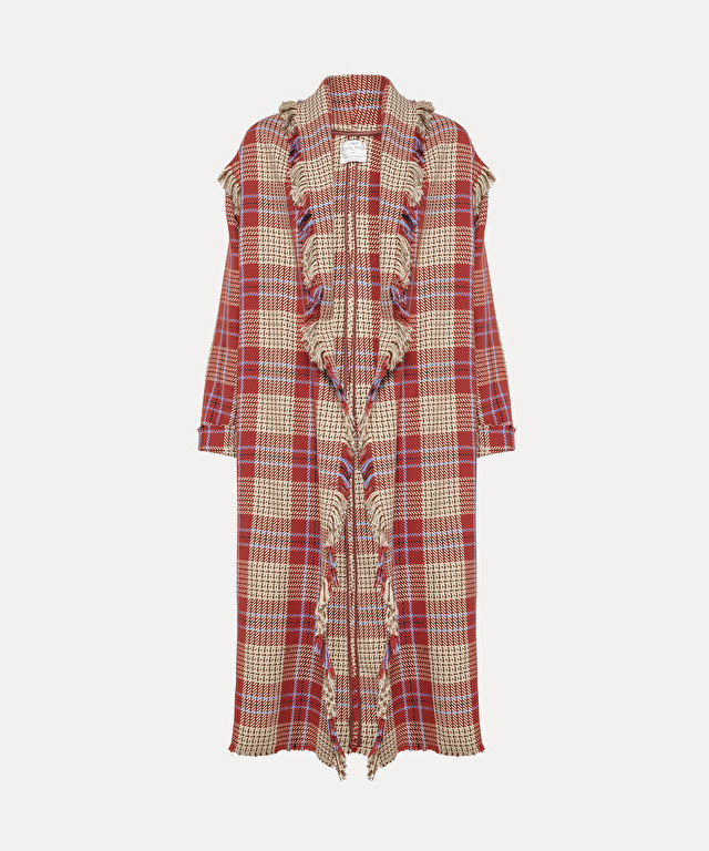 tartan coat with fringing