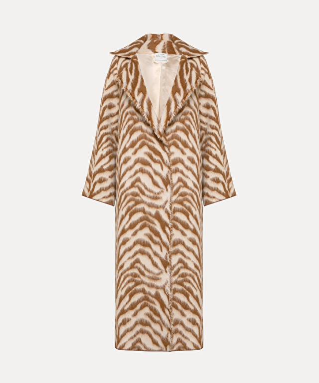 "coat in jacquard wool with ""corteccia"" print"