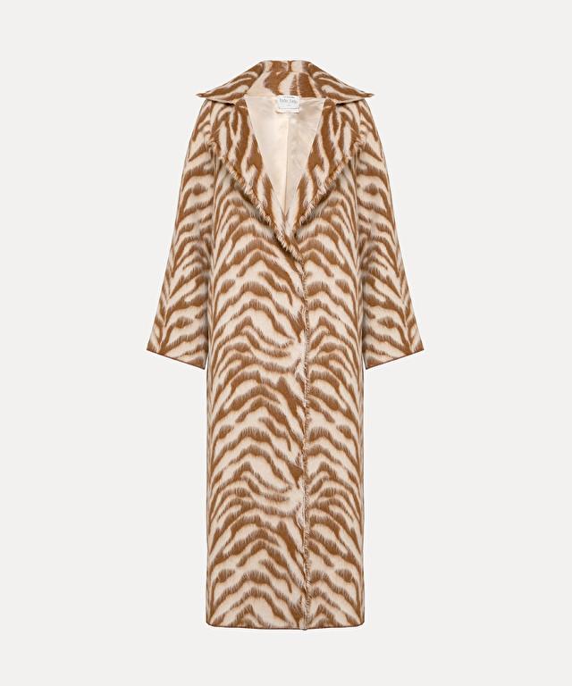 manteau en laine jacquard imprimé « corteccia »
