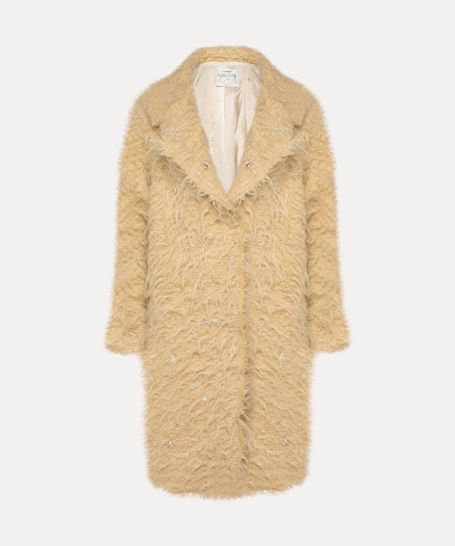 mid-length coat in mohair fur with crystals