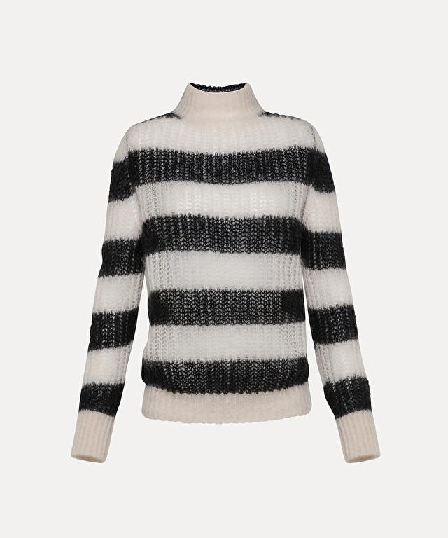 maglia a lupetto macroriga in mohair