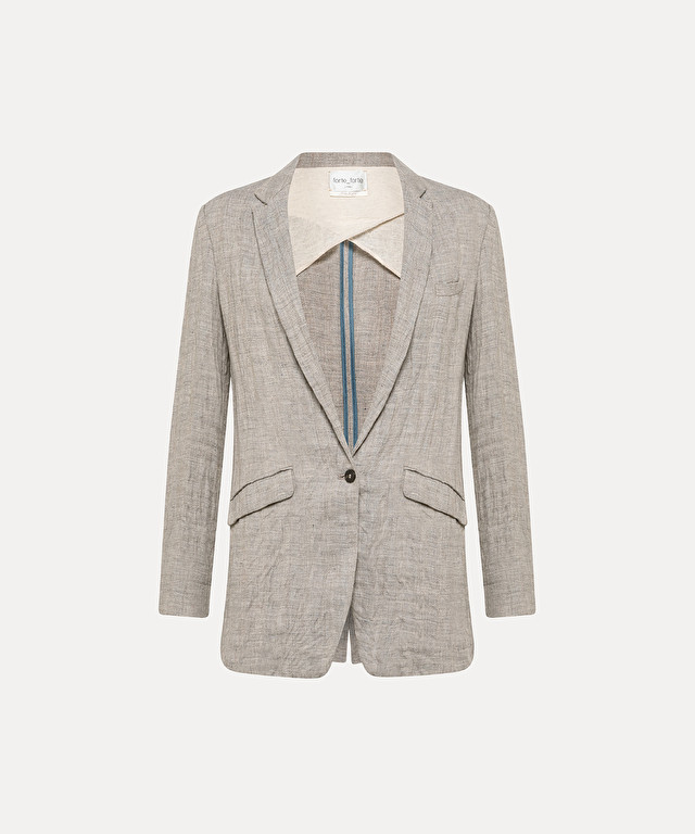 unstructured jacket in linen and wool