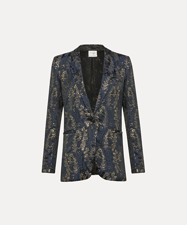 "single-breasted jacket in ""gipsy gold"" jacquard with lamé detailing"