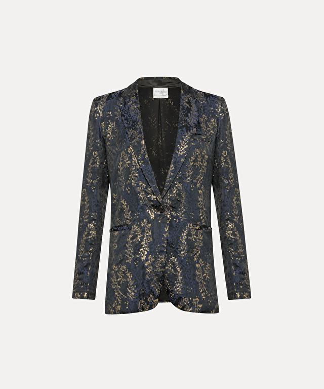 "giacca monopetto in jacquard ""gipsy gold"" con lamé"