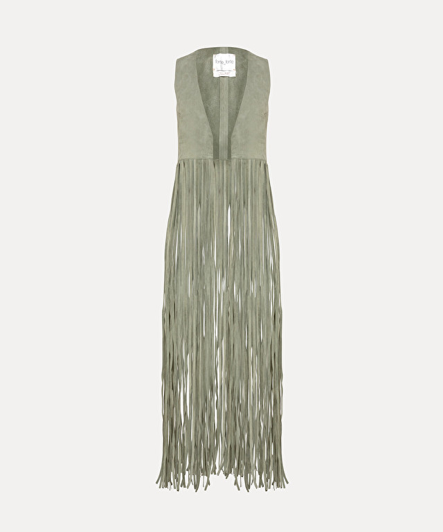 suede waistcoat with long fringe