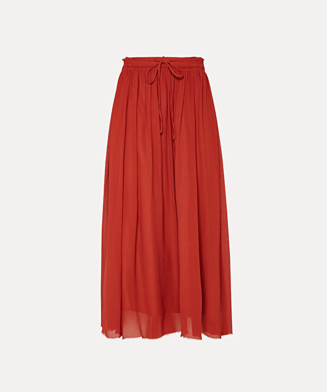 Skirt in silk crépon with drawstring waist