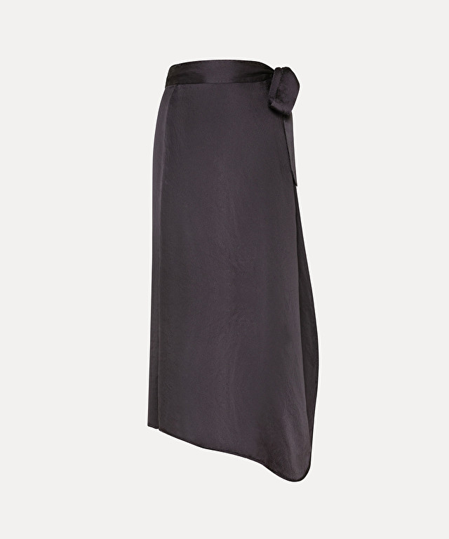 wrap-style skirt in cloqué silk satin