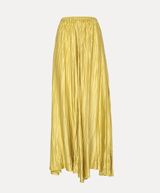 jupe froissée en satin de soie