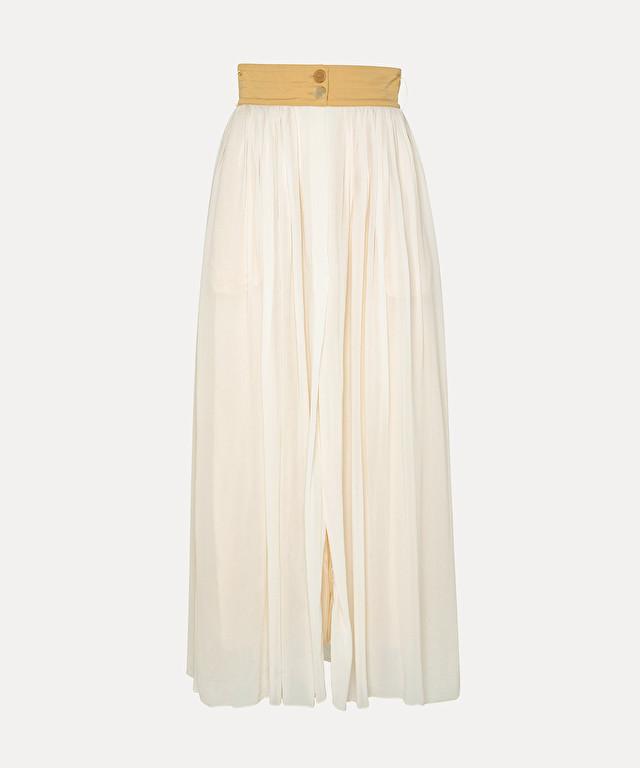 jupe en georgette avec détails en tissu de laine