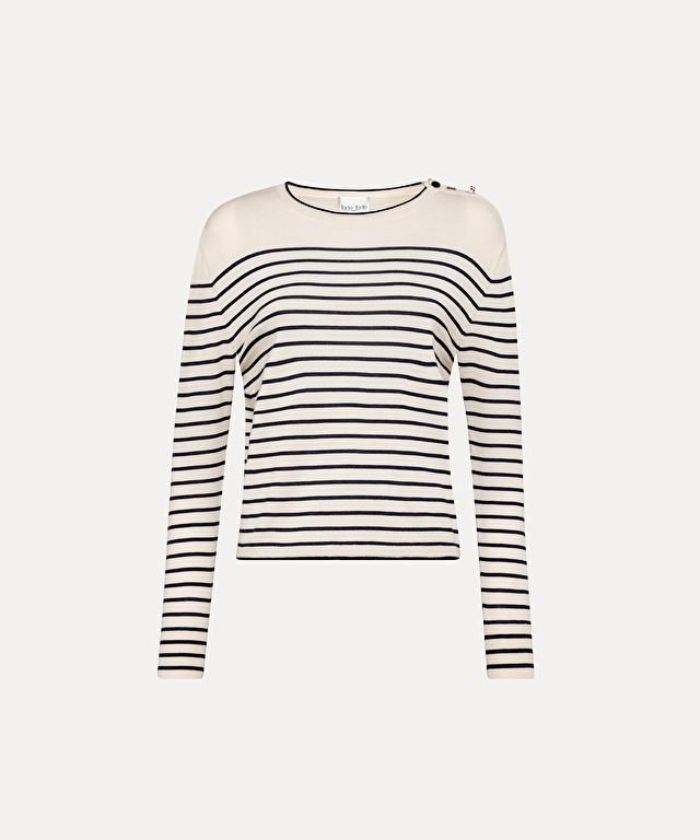 round-neck striped sweater in merino wool