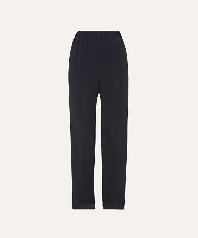 trousers with elasticated waist in satin-viscose envers crêpe