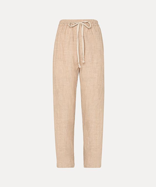 pantalon avec coulisse en lin et laine