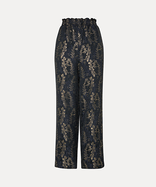"trousers with elasticated waist in ""gipsy gold"" jacquard"