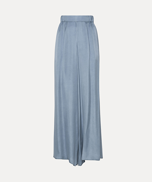 loose-fitting trousers in cupro satin