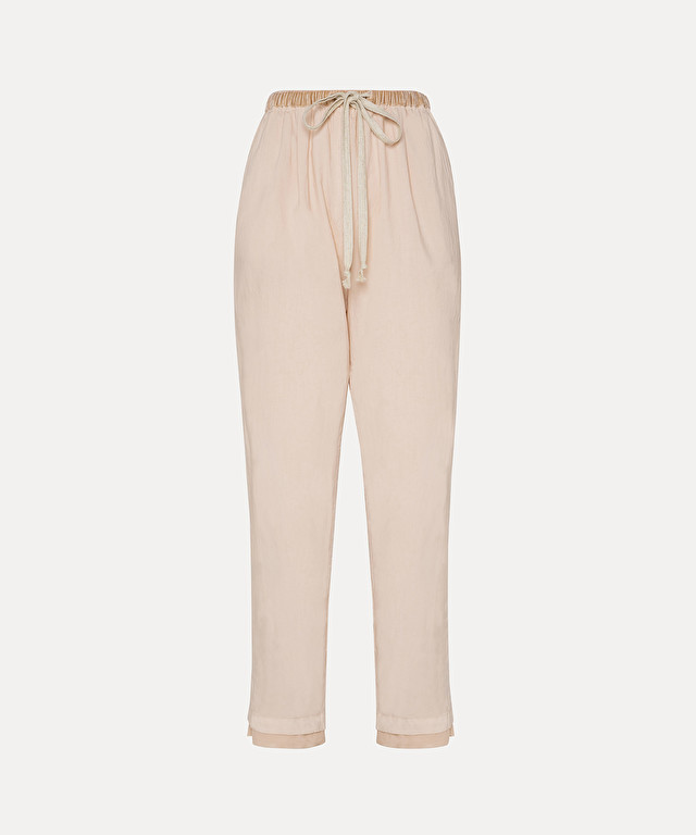 trousers with elasticated waist in cotton poplin