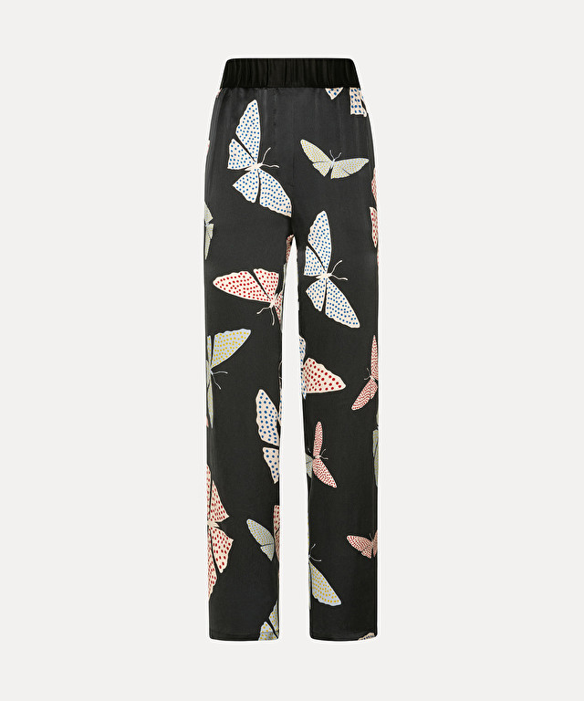 """papillons gitans"" trousers with elasticated waist in silk-satin cloqué"