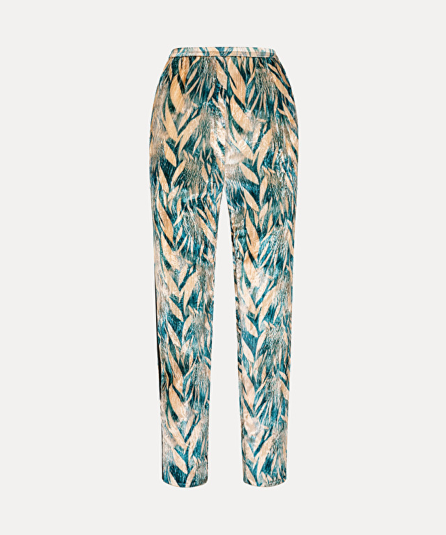 "velvet trousers with ""foresta incantata"" print"