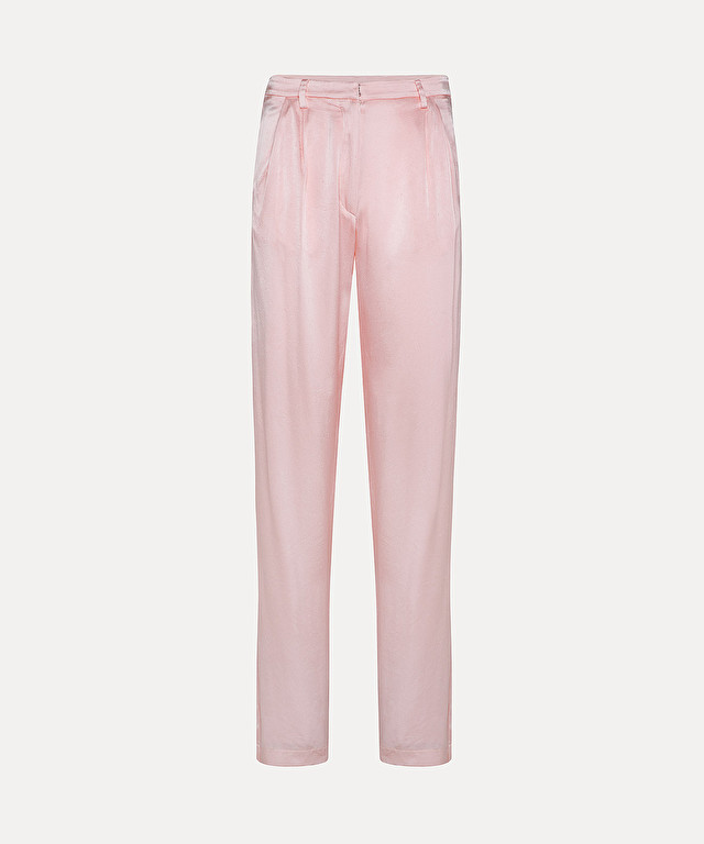 trousers with pleats in diamond-effect silk satin