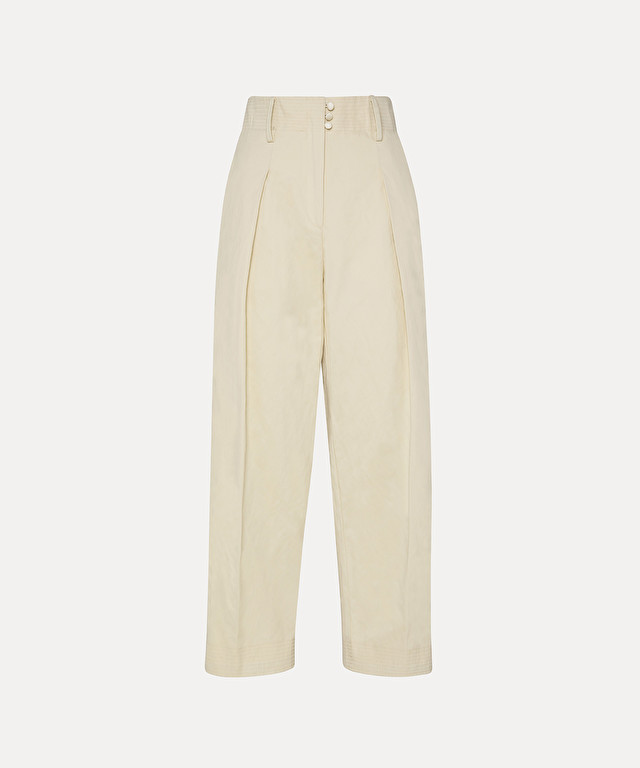 trousers with embroidered band in cotton twill and metal