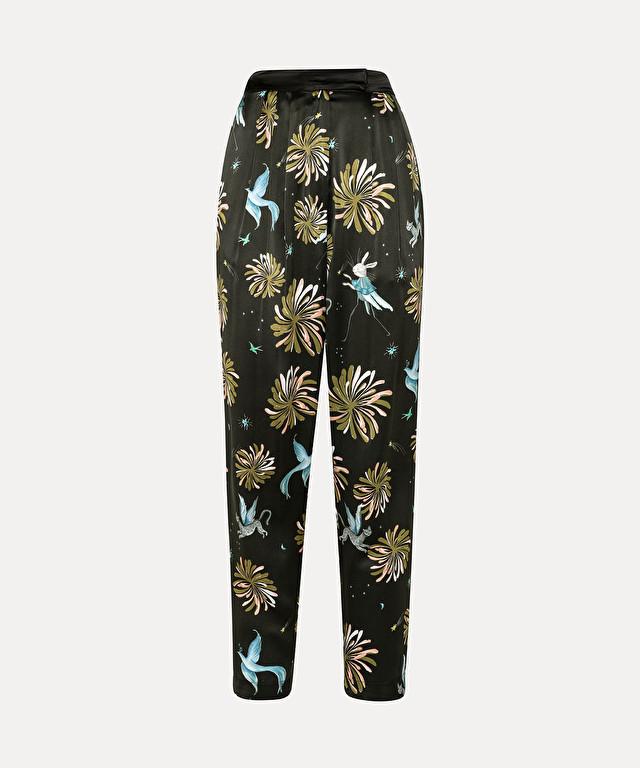 pantalon à pinces en satin de soie imprimé « fiaba »
