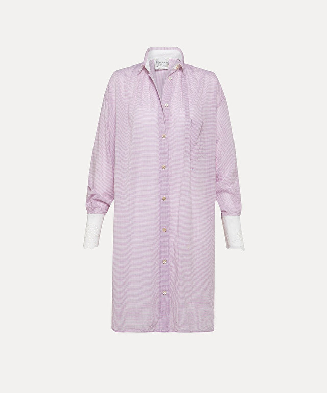 oversized shirt in gingham-check cotton voile