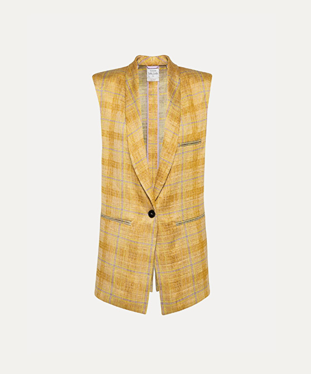 sleeveless jacket in jacquard tartan linen
