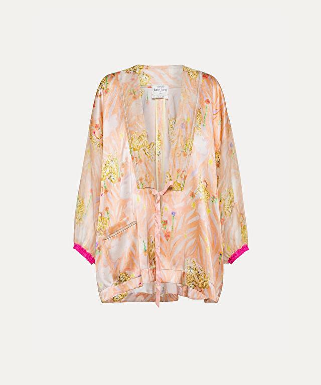 """la tigre innamorata"" kimono jacket in silk satin"