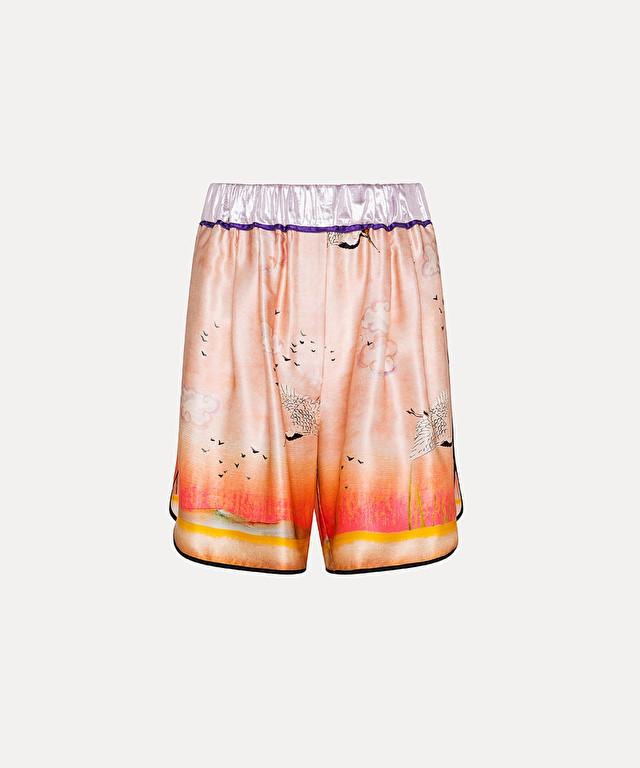 """""""un bacio al tramonto"""" bermuda shorts in silk satin"""