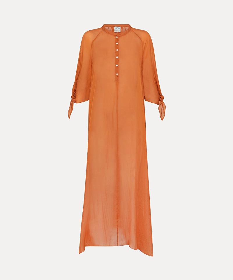 0a2e0636aff0 abito lungo in chiffon di seta - col. arancio