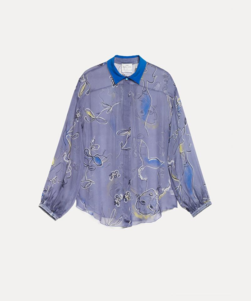 negozio online 067ee 43a8c camicia in chiffon di seta stampa